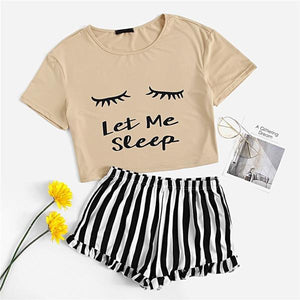 Casual Graphic Tee Frilled Striped Shorts Pajama Sets - Champagne - WOMENEXY