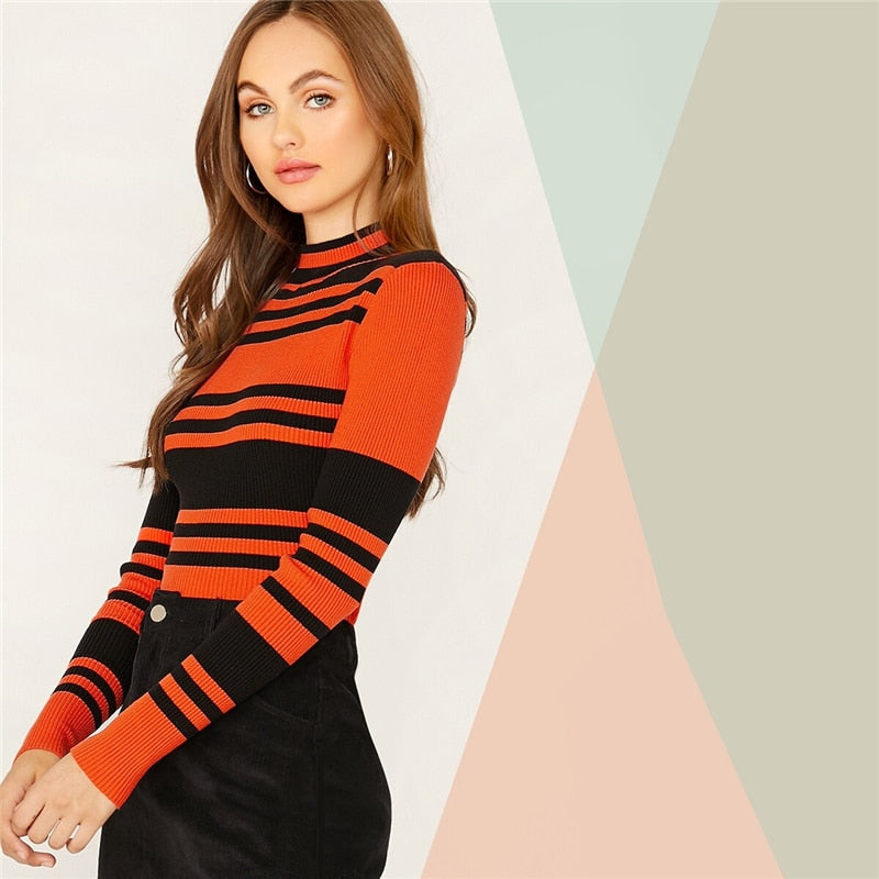 Elegant Mock Neck Striped Slim Fitted Pullover Sweater