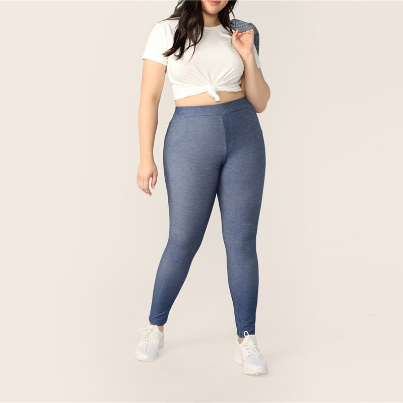 Sporty High Waist Long Solid Plus Size Leggings - Blue - WOMENEXY
