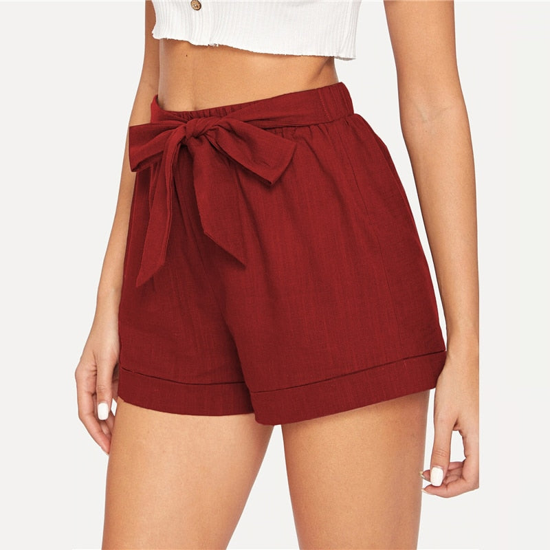 Casual Self Belted Elastic Mid Waist Summer Shorts - Red - WOMENEXY