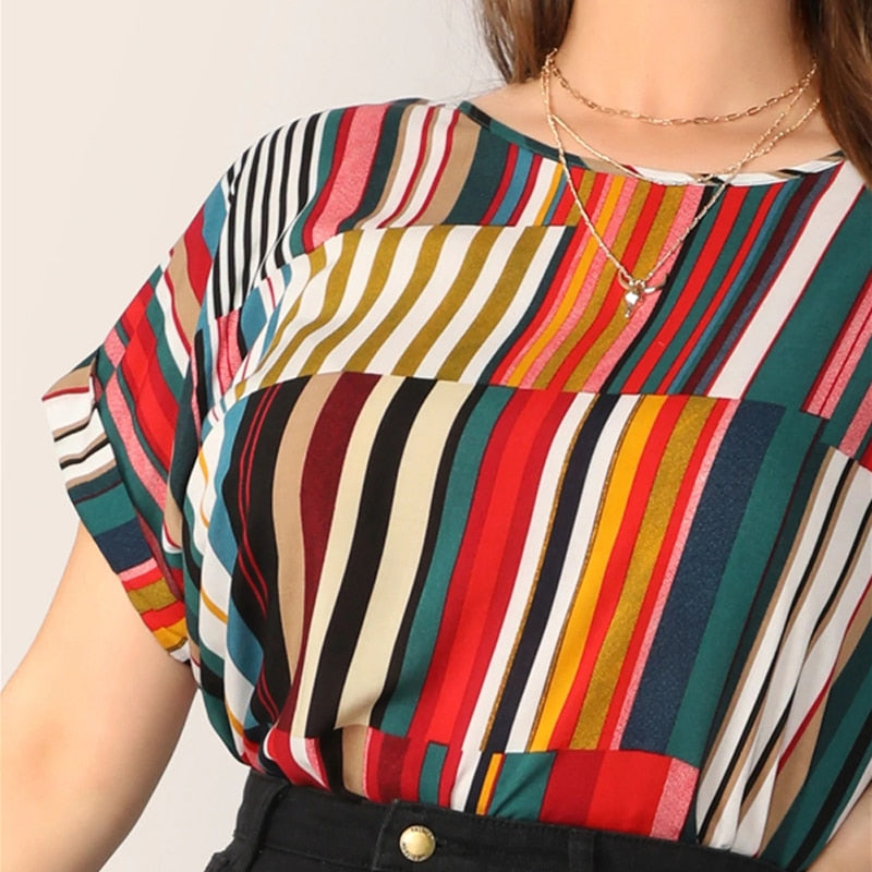 Casual Colorful Striped Plus Size Top - WOMENEXY