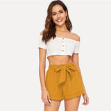Casual Self Belted Elastic Mid Waist Summer Shorts - Ginger - WOMENEXY