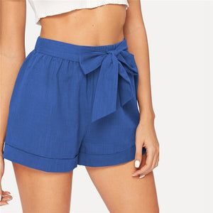 Casual Self Belted Elastic Mid Waist Summer Shorts - Blue - WOMENEXY