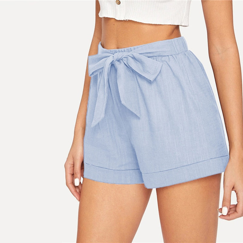 Casual Self Belted Elastic Mid Waist Summer Shorts - Sky Blue - WOMENEXY