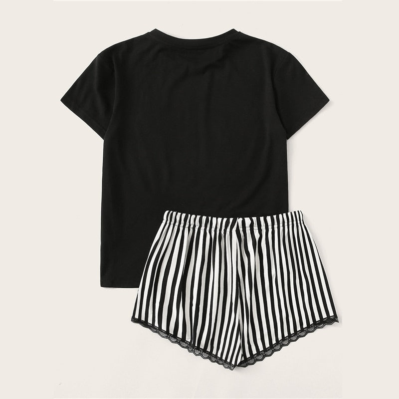 Casual Letter Print Top and Lace Trim Striped Shorts Pajama Sets - Black - WOMENEXY