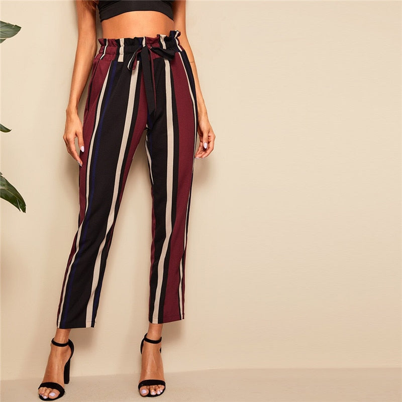 Elegant Paperbag Waist Striped Pants - WOMENEXY