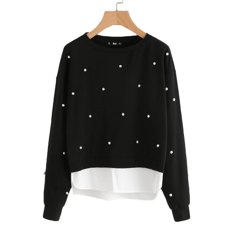 Pearl Beading 2-in-1 Women Sweatshirts