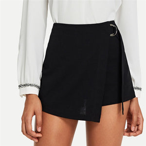 Elegant Wrap Solid Knot Zipper Mid Waist Fly Shorts - Black