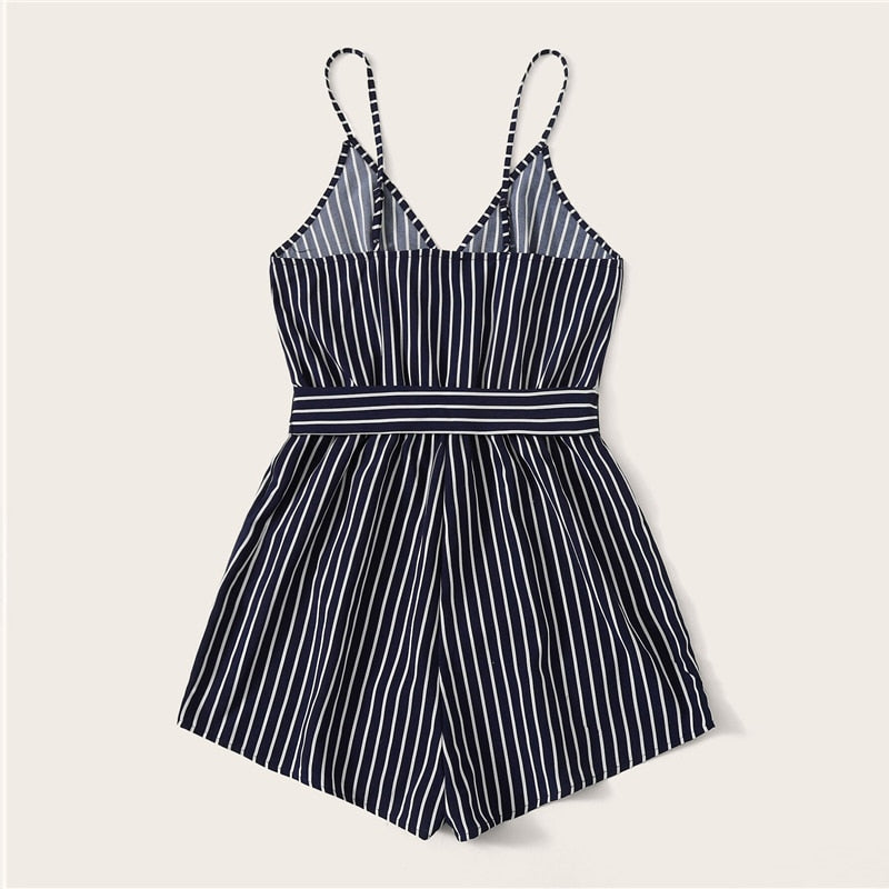 Beach Style Striped Wrap Cami Rompers - Navy - WOMENEXY
