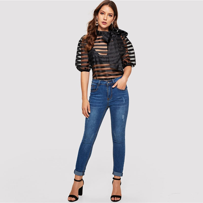 Sexy Tie Neck Puff Sleeve Striped Sheer Top - Black - WOMENEXY