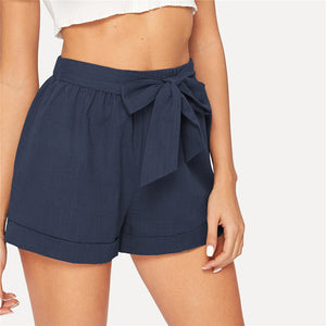 Casual Self Belted Elastic Mid Waist Summer Shorts - Navy - WOMENEXY