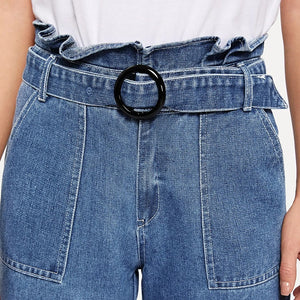 Casual Paperbag Waist Ring Belted Wide Leg Jeans - Dark Blue - WOMENEXY