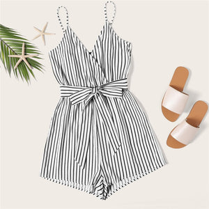 Beach Style Striped Wrap Cami Rompers - Black and White - WOMENEXY