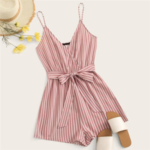 Beach Style Striped Wrap Cami Rompers - Pink - WOMENEXY