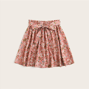 Boho Ditsy Floral Print Paperbag Waist Belted Flared Skirts - Pink - WOMENEXY