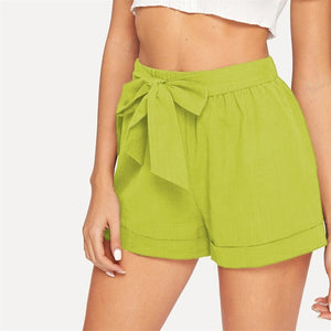 Casual Self Belted Elastic Mid Waist Summer Shorts - Green - WOMENEXY