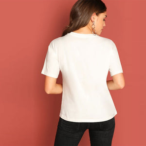 Preppy Color-Block Number Print T-Shirt - White - WOMENEXY