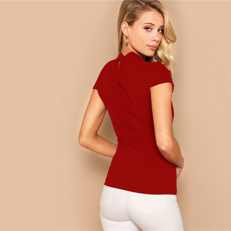 Sexy Keyhole Back Ladder Cut-Out Form Fitting Tee - Red - WOMENEXY