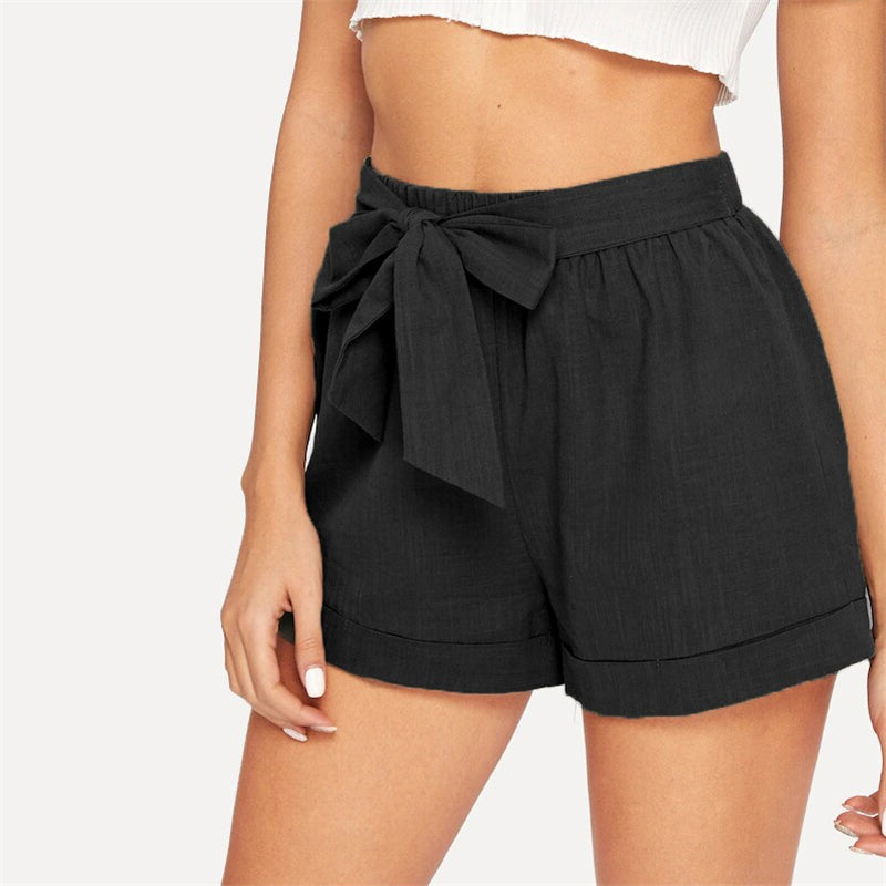 Casual Self Belted Elastic Mid Waist Summer Shorts - Black - WOMENEXY