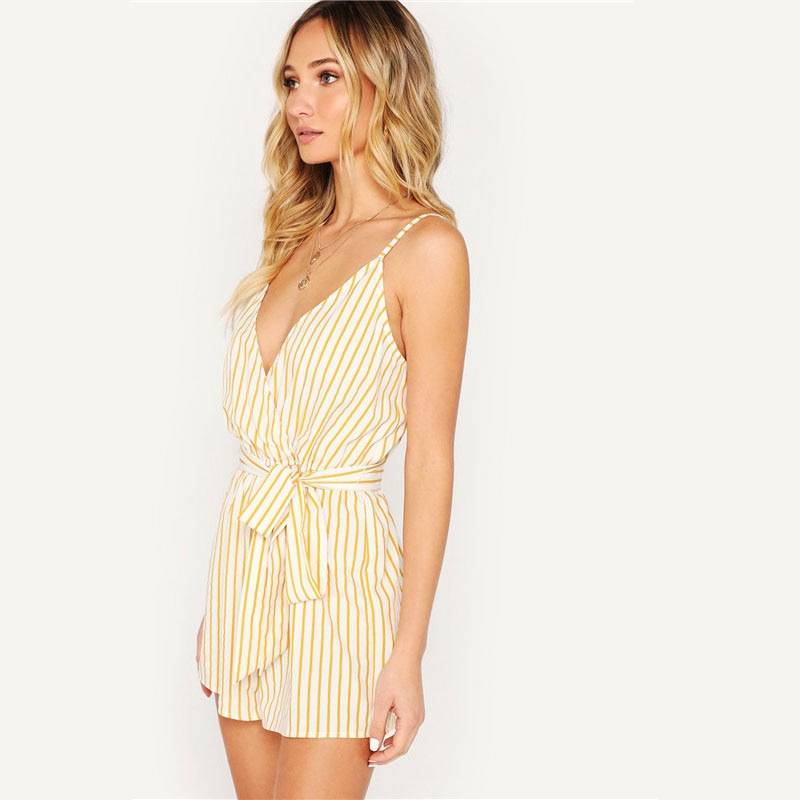 Beach Style Striped Wrap Cami Rompers - WOMENEXY