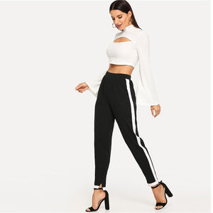 Sporty Contrast Trim Split Hem Elastic Mid Waist Carrot Women Pants - Black