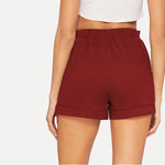Load image into Gallery viewer, Casual Self Belted Elastic Mid Waist Summer Shorts - Red - WOMENEXY