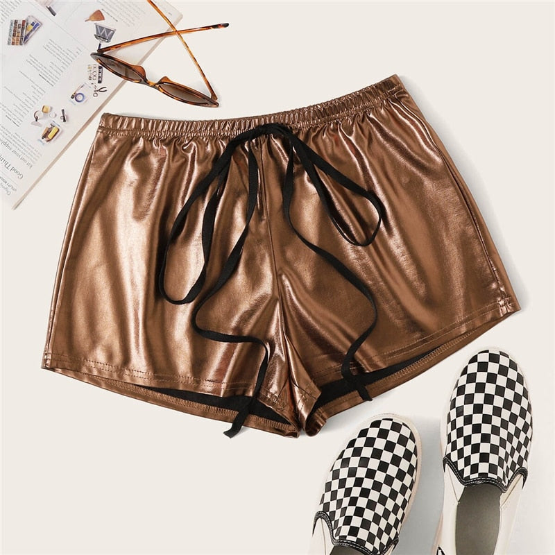 Glamorous Solid Drawstring Waist PU Shorts - Brown