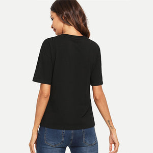 Preppy Color-Block Number Print T-Shirt - Black - WOMENEXY