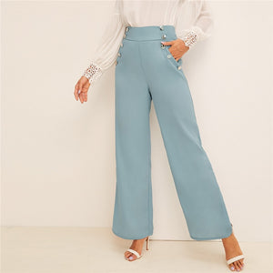 Vintage Button Detail Wide Band Waist Wide Leg Pants - Blue - WOMENEXY