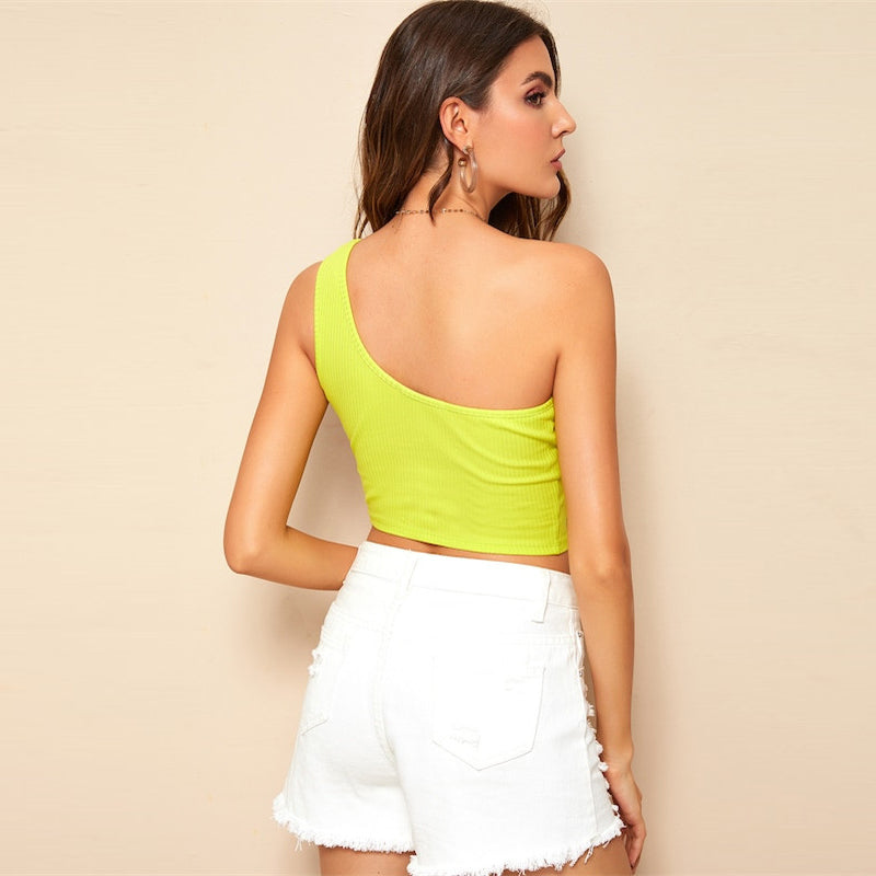 Sexy Solid One Shoulder Rib-Knit Tank Top - Yellow Bright Neon - WOMENEXY