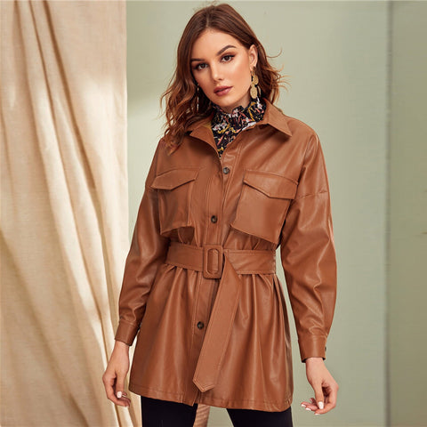 Casual Flap Pocket Front Faux Leather Belted Coat - Brown - WOMENEXY