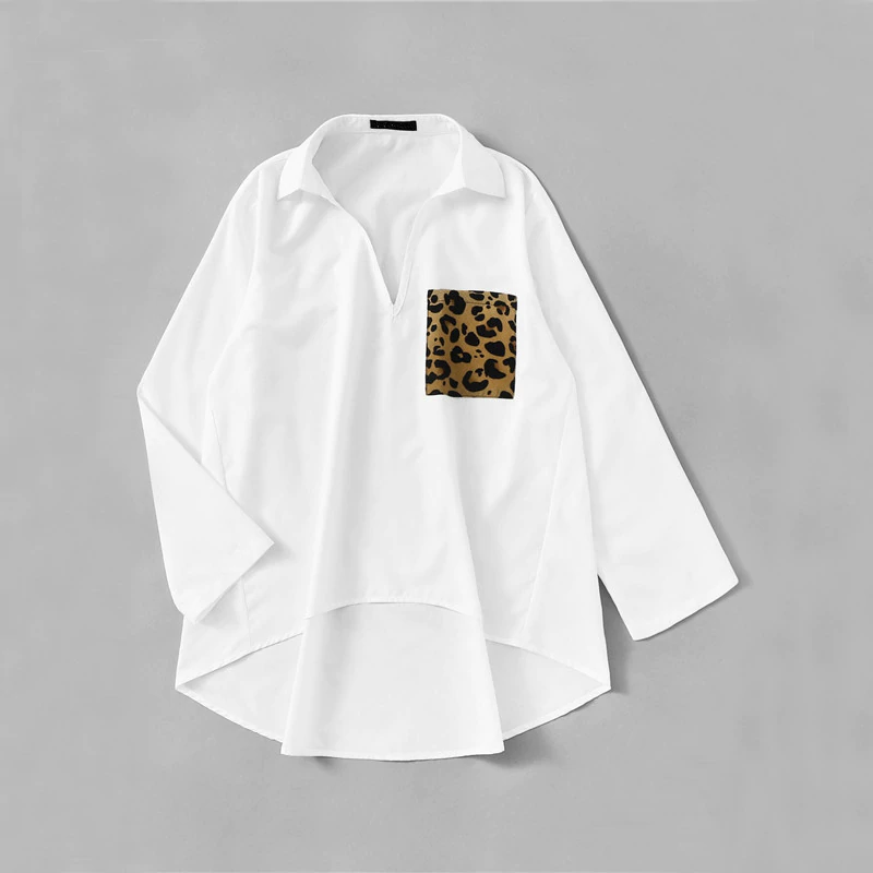Casual Patched Leopard Pocket Dip Hem Blouse - White - WOMENEXY