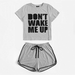 Load image into Gallery viewer, Casual Slogan Print Tee and Dolphin Hem Shorts Plus Size Pajama Sets - Gray - WOMENEXY