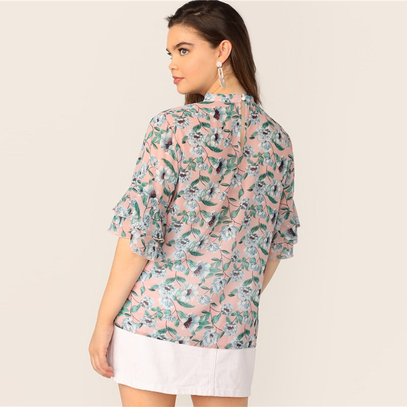 Casual V-Cut Choker Floral Print Butterfly Sleeve Plus Size Top Blouse - WOMENEXY