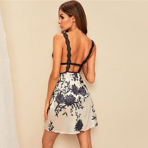 Sexy Print Contrast Lace Satin Cami Night Dress - WOMENEXY