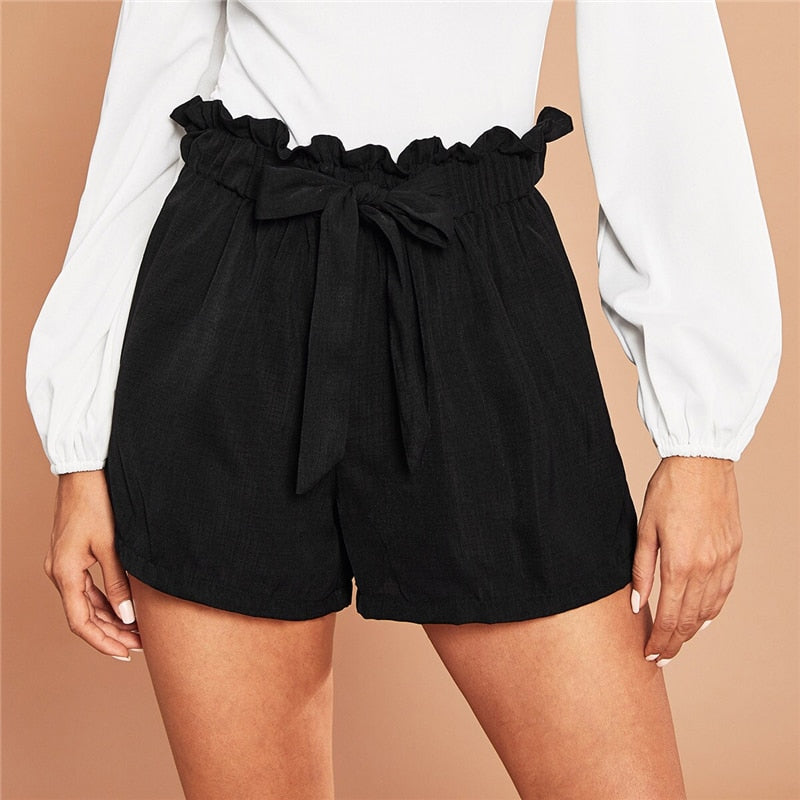 Casual Tie Front Ruffle Waist Paperbag Shorts - Black