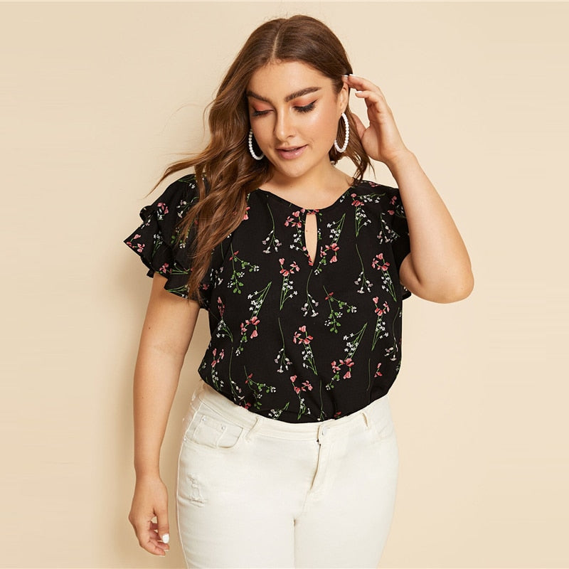 Casual Choker Neck Layered Ruffle Sleeve Botanical Plus Size Top Blouse - Black