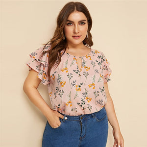 Casual Choker Neck Layered Ruffle Sleeve Botanical Plus Size Top Blouse - Pink