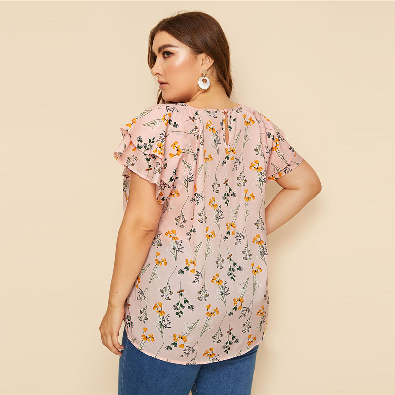Casual Choker Neck Layered Ruffle Sleeve Botanical Plus Size Top Blouse - Pink - WOMENEXY