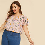 Load image into Gallery viewer, Casual Choker Neck Layered Ruffle Sleeve Botanical Plus Size Top Blouse - Pink - WOMENEXY