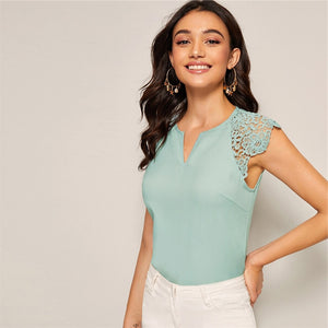 Elegant Notched Neck Guipure Lace Cap Sleeve Blouse - White / Pink / Green - WOMENEXY