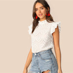 Load image into Gallery viewer, Boho Mock-Neck Ruffle Trim Embroidery Eyelet Top - White / Blue / Pink / Yellow - WOMENEXY