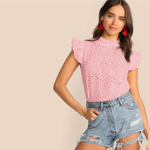 Boho Mock-Neck Ruffle Trim Embroidery Eyelet Top - White / Blue / Pink / Yellow - WOMENEXY