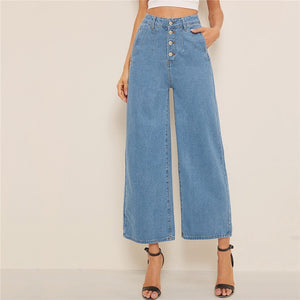 Casual Button Fly Loose Wide Leg Denim Jeans - Blue - WOMENEXY
