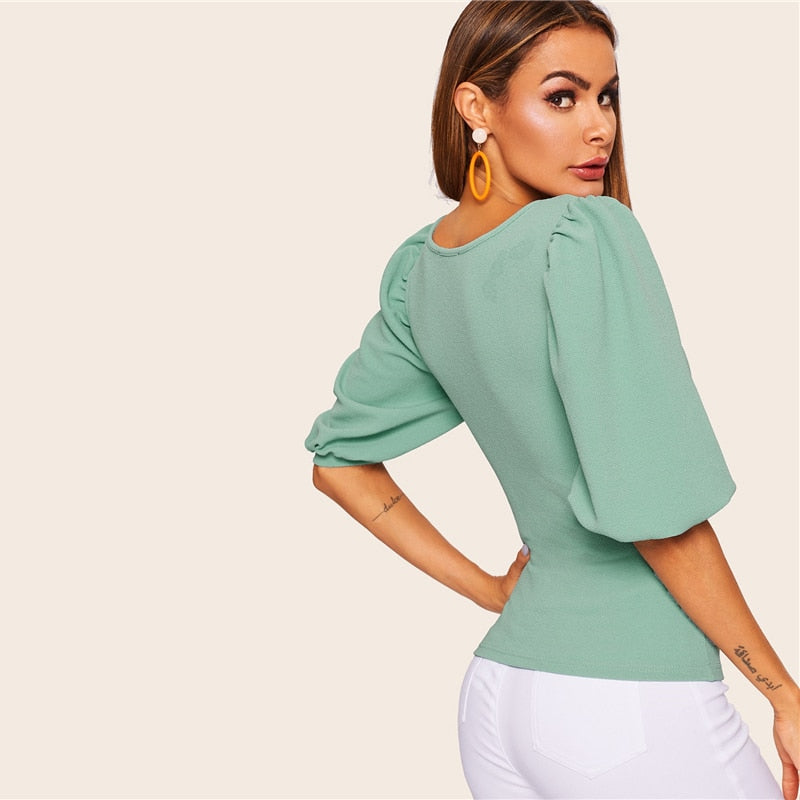 Elegant Puff Sleeve Solid Fitted Square Neck T-Shirt - Turquoise - WOMENEXY