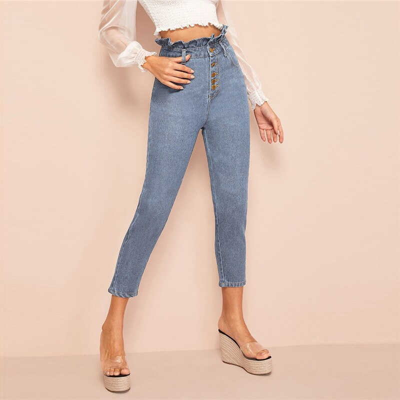 Casual Light Wash Button Fly Paperbag Waist Skinny Jeans - Blue - WOMENEXY