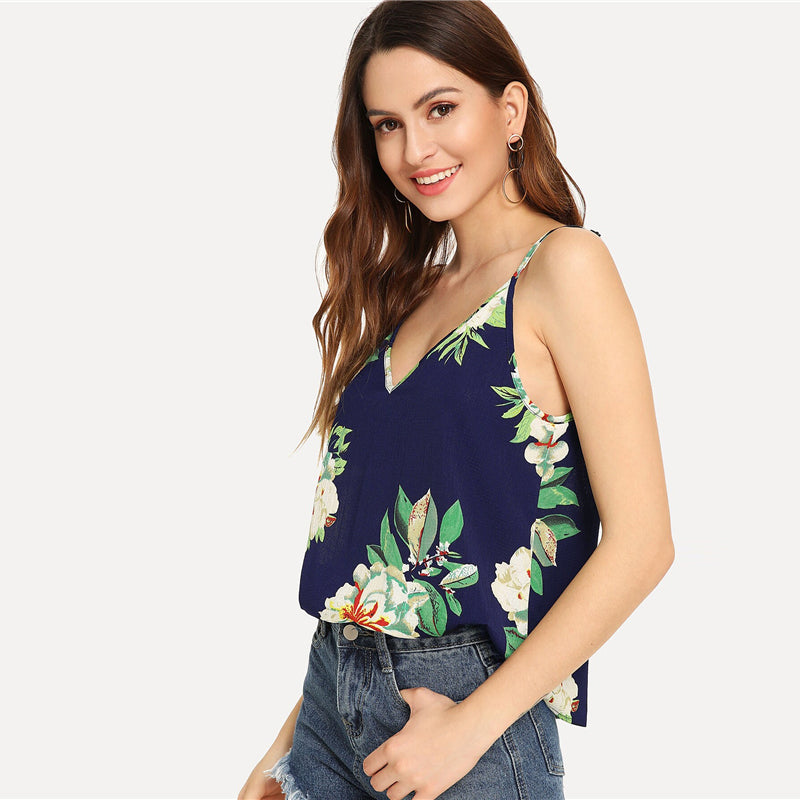 Boho Double Deep V-Neck Floral Cami Top - Multi / Navy / Red / Yellow / White - WOMENEXY