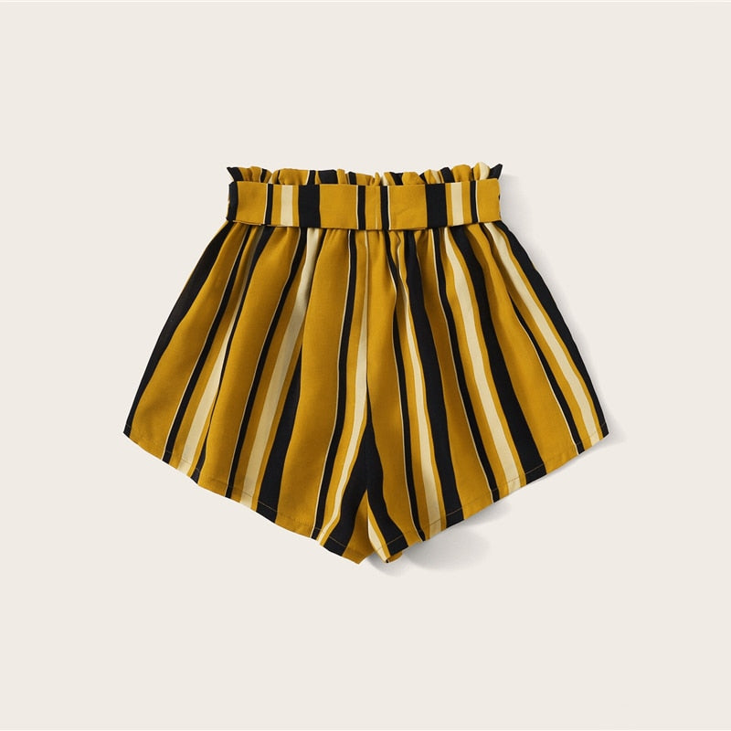 Boho Paperbag Waist Self Belted Striped Shorts - Ginger - WOMENEXY