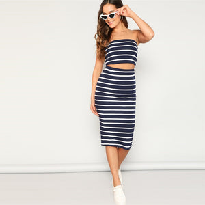 Sexy Striped Bandeau Crop Top and Slit Hem Skirt - Black / Grey / Navy / Pink - WOMENEXY