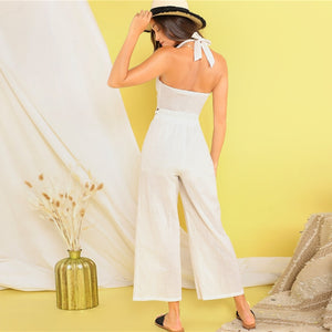 Tie Front Halter Knot Crop Top and Wide Leg Pants Women Set - White